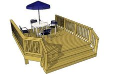 Amazingly simple deck at 186 sf at 12 feet wide and a nice broad staircase. Wood Deck Plans, Free Deck Plans, Pergola Plans, Pergola Ideas, Decking Ideas, Small Garden Pergola, Deck With Pergola, Cheap Pergola, Patio Decks