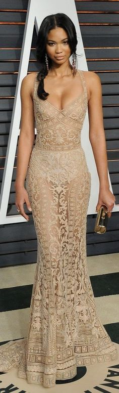 Chanel Iman in a sheer nude dress at the Vanity Fair Oscars afterparty