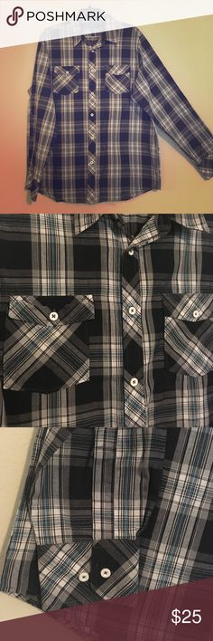 "Men's Plaid Button Up Lightweight Shirt NWOT I bought without my son trying it on first & is to big. Black, white, gray and blue plaid in a lightweight cotton/polyester blend. TTS 29"" 930 Shirts Casual Button Down Shirts"