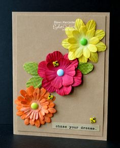 If you are in need of a quick, cute card...   look no further than your stash of Eyelet Outlet  Paper Flowers!     With so many colors..and...