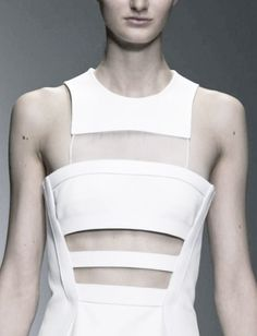 Structured dress with cut outs & sheer panel; fashion details // David Koma SS14