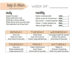 Printable Cleaning Schedule | AllFreePaperCrafts.com