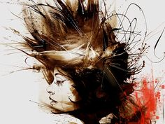 """Excellent art by British artist Russ Mills. Russ Mills creates these astonishing images using a wide variety of traditional methods including painting and drawing with ink and pencil, but also utilizing scanned textures including splotches of paint (or """"painting disasters"""" as he calls them) as well as photography. The resulting paintings are sparse in color but seem to contain explosive amounts of energy as displayed in the rough brushes of paint and the almost perfectly manic pencil…"""