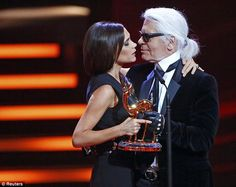 Mutual respect: Karl Lagerfeld presented Victoria Beckham her Bambi at the 2013 media awards.