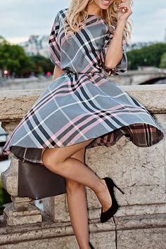 Love Pink + Grey! Pink + Grey Plaid Vontage Style Bateau Collar Half Sleeve Plaid Midi Dress #Pink #Grey #Black #Plaid #Vintage #Style #Dress #Fashion
