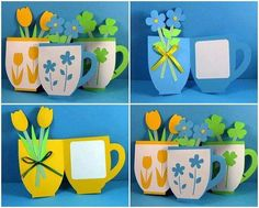 Great idea for Mother's Day. The stamp would be difficult to replicate but students could paint a design (monochromatic--to match cup and floral color choice) on the front of the cup. Kids Crafts, Diy And Crafts, Arts And Crafts, Teachers Day Card, Classroom Art Projects, Paper Artwork, Mothers Day Crafts, Spring Crafts, Diy Cards