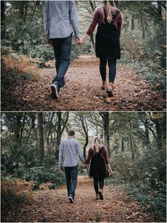 Autumn New Forest engagement shoot couple walking through new forest woodland