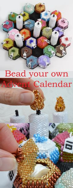 Bead a stunning Advent Calendar. This beading pattern shows you how to make 24 little bead boxes with five Advent Candles. You can open the boxes for a little treat each day. Then light the candles with a beaded flame. This is a Peyote stitch tutorial, using Delica seed beads and Superduo beads. Design by Katie Dean, Beadflowers