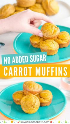 Carrot muffins for kids an easy healthy recipe with no added sugar also perfect for baby led weaning #muffins #babyledweaning #muffinrecipe #babyfoods #pickyeaters #baby #babies #kids