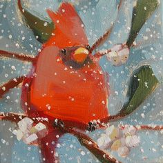 Winter Cardinal no. 14 original bird oil painting by Angela Moulton 6 x 6 inch on canvas pre-order by prattcreekart on Etsy