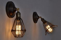 Pair of Edison Wire Cage Sconce Industrial Opening Closing Metal Lamp Guard Exposed Edison Bulb Wall Light Rustic Bar Steampunk Chandelier