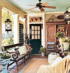 Create a welcoming outdoor room by transforming a porch into extra living space. Approach the decorating as you do inside: Combine comfortable furniture (weather-resistant works best) and eye-catching yet durable accessories for a space that invites House Design, Cottage, House, Home, Cottage Porch, Porch Ceiling, House Styles, Outdoor Living Space, Cottage Living