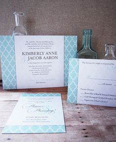 uptown chic wedding invite in umber + seafoam inks