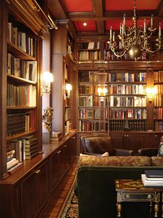 This grand home library was designed and built by Odhner & Odhner in a rather grand Philadelphia apartment. The wood specie was cherry. the space includes a bar area. Prestige & ... a good book ! - / Odhner & Odhner Fine Woodworking Inc., Easton, Pennsylvania