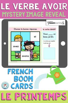 """This deck of French Boom Cards will get your students working with French Verbs. This deck focuses on """"le verbe AVOIR au présent de l'indicatif"""". When the student gets the right answer, a piece of the image is revealed. Interactive and self-correcting way to practice French verb conjugation and grammar in context. For French Immersion and Core French students. French Verbs, Verb Conjugation, Mystery, Core French, Progress Report, French Immersion, Student Work, Grammar, Sentences"""