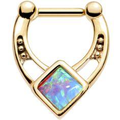 "16 Gauge 1/4"" Blue Faux Opal Gold Anodized Glamour Septum Clicker"