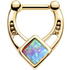 "16 Gauge 1/4"" Blue Faux Opal Gold Anodized Glamour Septum Clicker"