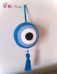 Evil Eye Hanging, Crochet Evil Eye, Baby Room Decor, Baby Charm, Baby Shower Gift, Good Luck Gift, Crib Decor, Newborn Gift, Island Style Crochet Baby Beanie, Crochet Toddler, Crochet Girls, Unicorn Hat, Crochet Unicorn, Good Luck Gifts, Baptism Favors, Animal Hats, Diy Pins