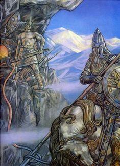 Svyatogor and blacksmith of fate. Andrey Klimenko Art.
