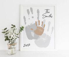 Handprint Art Family Portrait Print Personalized Gift Custom