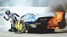 Jimmie Johnson on fire at a 2007 Pocono race.