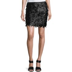 Max Studio Fringed Faux-Leather Mini Skirt ($53) ❤ liked on Polyvore featuring skirts, mini skirts, black, mini pencil skirt, faux leather pencil skirt, short pencil skirt, vegan leather skirt and short skirts