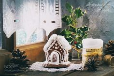 Merry Christmas! (Gingerbread House) - Pinned by Mak Khalaf Small Gingerbread House with candle and cones over old wooden window sill near frozen window. Food ChristmasGingerbread Housebluecandlechristmasconecozyfrostinggingerbreadholidayholidayshomehomemadehouseindoorinteriorlightmerrynew yearoldsnowsweettraditionalwhitewindowwinterwooden by NatashaBreen