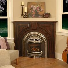Valor Portrait Gas Fireplace with Windsor Arch Front from Miles Industries