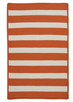 Great beach shades of  tangerine orange and white stripes make up this fabulous 100% polypropylene braided beach house rug. Available in several sizes!