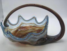 Murano Art Glass Vase Bowl Italian Handblown Vintage 60s Clam Shell Basket
