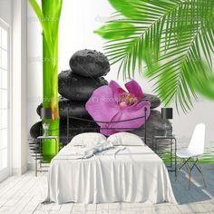 Fotobehang Orchidee op stenen per m²