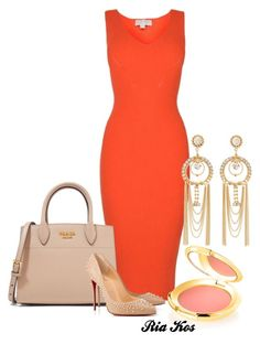 coral dress by ria-kos on Polyvore featuring MICHAEL Michael Kors, Christian Louboutin, Prada, Charlotte Russe and Elizabeth Arden