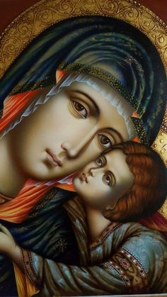 Icon - Madonna and Child Religious Images, Religious Icons, Religious Art, Blessed Mother Mary, Blessed Virgin Mary, Immaculée Conception, Queen Of Heaven, Mary And Jesus, Byzantine Icons
