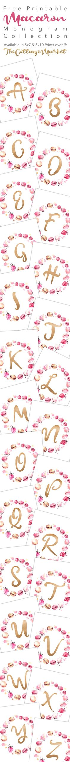 Free Printable Macaron Monogram Collection - The Cottage Market shared at Katherines Corner