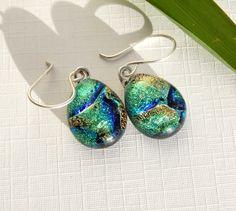 Green Dichroic Glass Dangle Earrings - Fused Glass Jewelry - Green Art Glass Drop Earrings on 925 Sterling Silver Earwires by TremoughGlass on Etsy