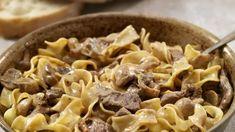 Hovädzí Stroganov s cestovinou | Recepty.sk Classic Beef Stroganoff Recipe, Best Beef Stroganoff, Mushroom Stroganoff, Sour Cream Sauce, Beef Strips, Creamy Sauce, Salted Butter, Macaroni And Cheese, Vegetarian