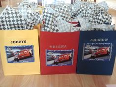 my nephew is having a cars themed party so i decided making these cute customized goody bags for the kids.