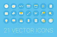 Set of 21 vector icons for business and marketing niches. Change colour and put…