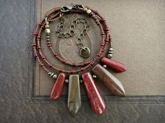 Red & Brown Tribal Necklace Picasso jasper by ArtifactsEtCetera