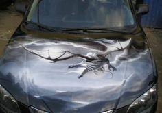car-painting-airbrushing-dragon-mazda-3-hood Car Paint Jobs, Custom Paint Jobs, Custom Cars, Air Brush Painting, Car Painting, Airbrush Art, Mazda 3, Small Cars, Car Wrap