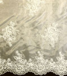 This is only online! I wish I could see it in real life because this is what I want for the top layer of my skirt!!! Designer Vault Bridal Fabric - Etched Glass Embroidered Organza Ivory