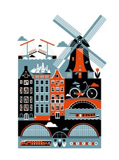 Amsterdam city poster illustration - Art and design inspiration from around the world - CreativeRoots