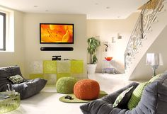 Designed as a fun area to hang out and play video games, Magnolia integrated a flat-panel TV and soundbar.