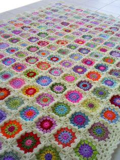 colorful crochet granny square blanket by handmadebyria on Etsy