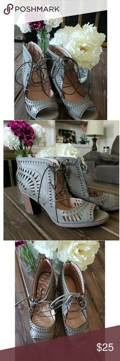 Green Block Heel Laser Cut Lace Up Sandals These laser cut bootie/sandals (who even knows what to call them?) Are PERFECT for fall!  These are a size 10 and have never been worn other than to try on. Maurices Shoes Heels