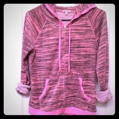 Juicy Couture zip up jacket Pink Juicy Couture velour zip up jacket. Worn just once or twice. No flaws! Juicy Couture Jackets & Coats
