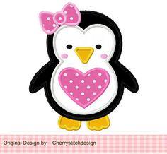 Heart girly penguin Applique -4x4 5x7 6x10-Machine Embroidery Applique Design