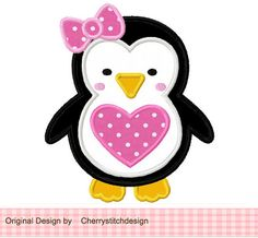 Heart girly penguin Applique -4x4 5x7 6x10-Machine Embroidery Applique Design