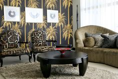 Black and Gold wallpaper repeat pattern - can be supplied to any width wall. A fantastic and contemporary addition to any room. A N Wallpaper, Summer Paradise, Tropical Leaves, Repeating Patterns, Contemporary, Modern, Spanish, Room, House