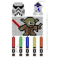 Star Wars strijkkralen patronen; onderdeel van het zelf te printen Star Wars feestpakket van www.Printpret.nl